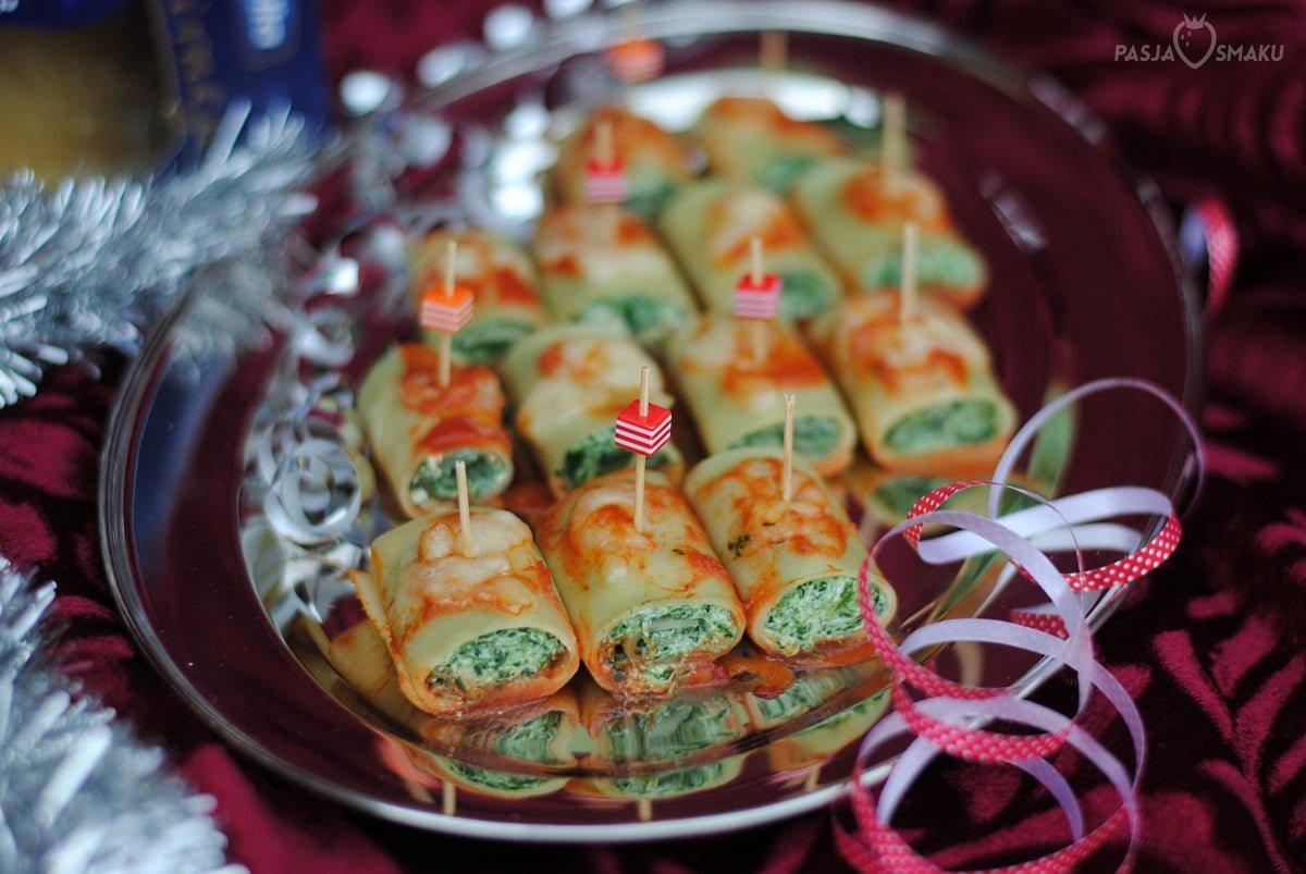Mini roladki szpinakowe z lasagne