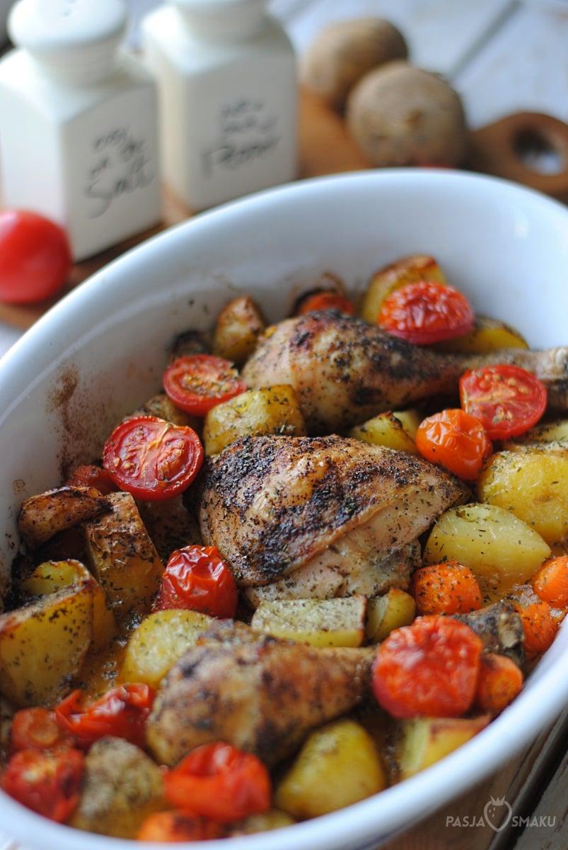 podudzia pieczone z pomidorkami